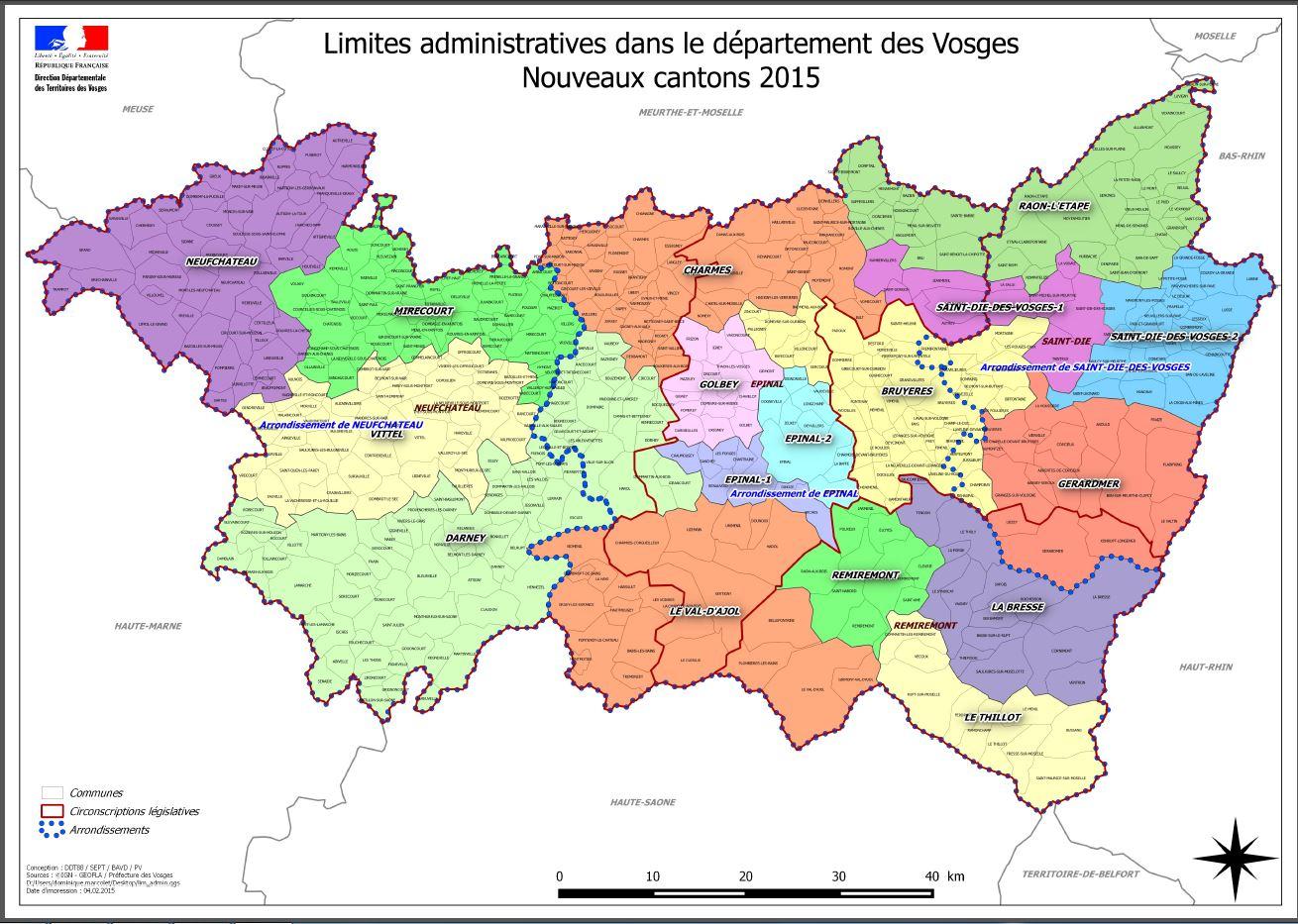 Les vosges carte for Vosges code postal